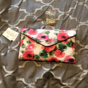 Clutch with pink floral print